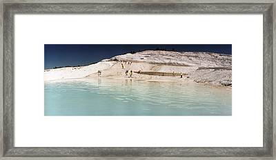 Tourists At A Hot Springs Framed Print by Panoramic Images