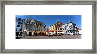Tourists At A Sidewalk Cafe, Stralsund Framed Print by Panoramic Images