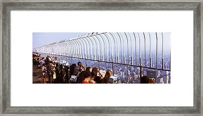 Tourists At An Observation Point Framed Print by Panoramic Images