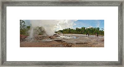 Tourists Looking At A Hot Spring Framed Print by Panoramic Images