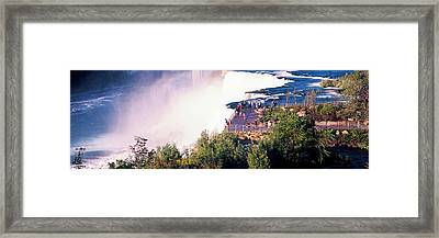 Tourists On Observation Tower, Niagara Framed Print by Panoramic Images