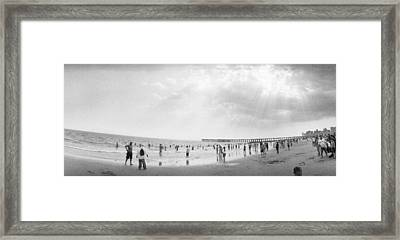 Tourists On The Beach, Coney Island Framed Print by Panoramic Images