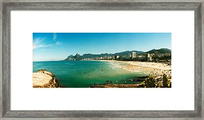 Tourists On The Beach, Ipanema Beach Framed Print by Panoramic Images
