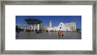 Tourists Walking In Front Of A Mosque Framed Print by Panoramic Images