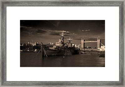 Tower  Bridge Hms Belfast Tower Of London Framed Print by David French