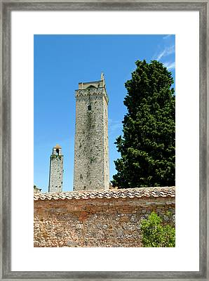 Towers Of San Gimignano, Unesco World Framed Print by Nico Tondini
