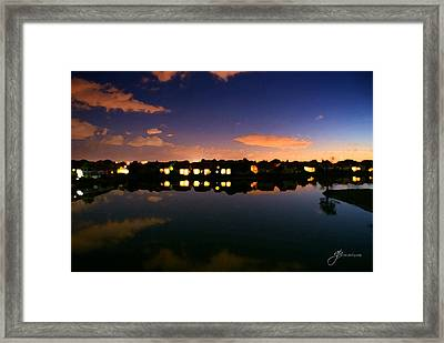 Town In Darkness Framed Print