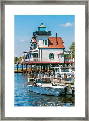 Town Of Edenton Roanoke River Lighthouse In Nc Framed Print