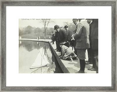 Toy Boat In A Pond In Central Park, New York City Framed Print by Artokoloro