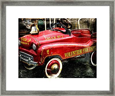 Toy Fire Truck Framed Print by Bobbi Feasel