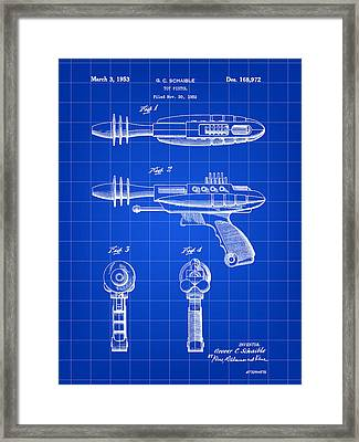 Toy Ray Gun Patent 1952 - Blue Framed Print by Stephen Younts