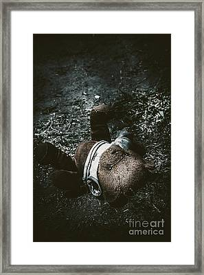 Toy Teddy Bear Lying Abandoned In A Dark Forest Framed Print