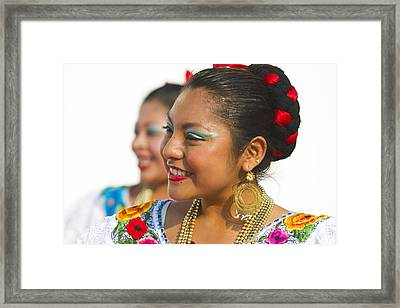 Traditional Ethnic Dancers In Chiapas Mexico Framed Print by David Smith