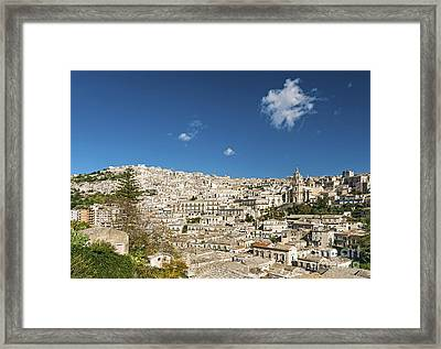 Traditional Houses Of Modica In Sicily Italy Framed Print