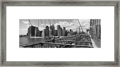 Traffic On A Bridge, Brooklyn Bridge Framed Print by Panoramic Images