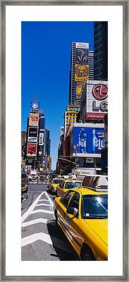 Traffic On A Street, Times Square Framed Print