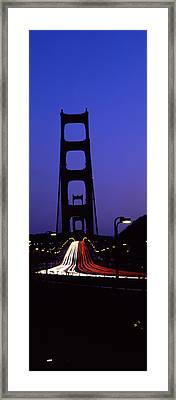 Traffic On A Suspension Bridge, Golden Framed Print by Panoramic Images