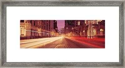 Traffic On The Road At Dusk, Michigan Framed Print by Panoramic Images