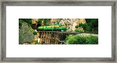 Train On A Bridge, White Pass And Yukon Framed Print by Panoramic Images