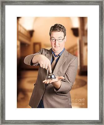 Travel Businessman Booking Hotel Accommodation Framed Print