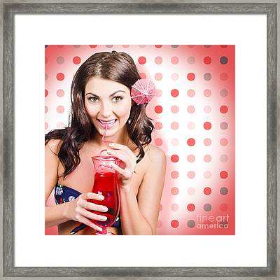 Travel Holiday Woman Drinking Red Cocktail Framed Print