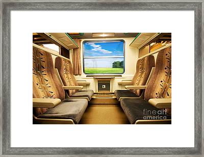 Travel In Comfortable Train. Framed Print
