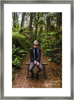 Travel Man Laughing In Tasmania Rainforest Framed Print