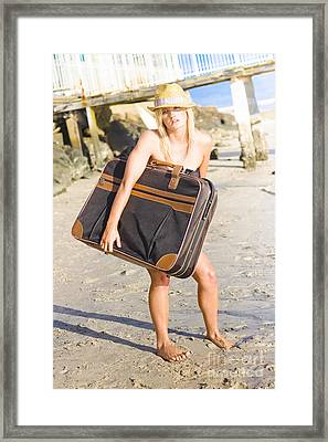 Traveling To The Beach Framed Print