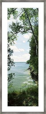 Trees At The Lakeside, Cave Point Framed Print
