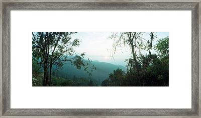 Trees On A Hill, Chiang Mai, Thailand Framed Print