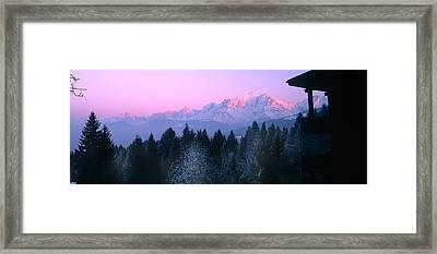 Trees With Snow Covered Mountains Framed Print