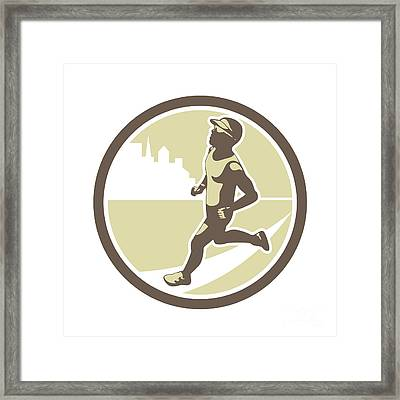Triathlete Running Side Circle Retro Framed Print by Aloysius Patrimonio
