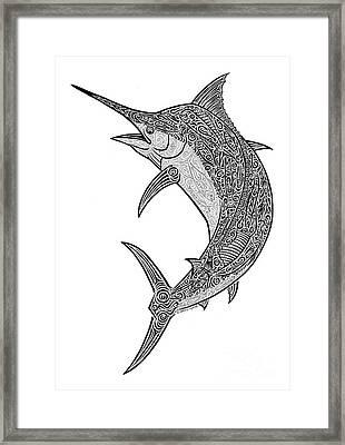 Tribal Black Marlin Framed Print by Carol Lynne