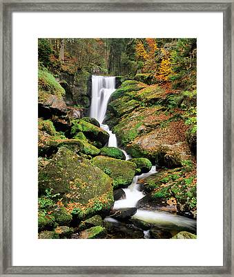 Triberg Waterfall In Autumn, Black Framed Print by Panoramic Images