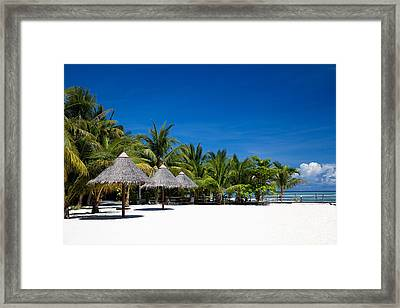 Tropical White Sand Beach Borneo Malaysia Framed Print