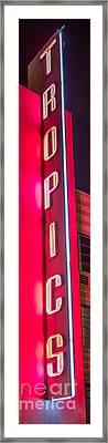 Tropics Neon Sign Art Deco District Sobe Miami - Black And White Framed Print