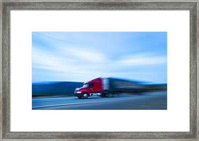Truck On Motorway Framed Print by Science Photo Library
