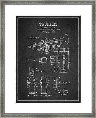 Trumpet Patent From 1939 - Dark Framed Print