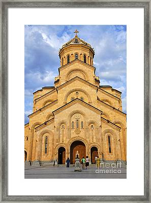 Tsminda Sameba Cathedral Tbilisi Framed Print by Robert Preston