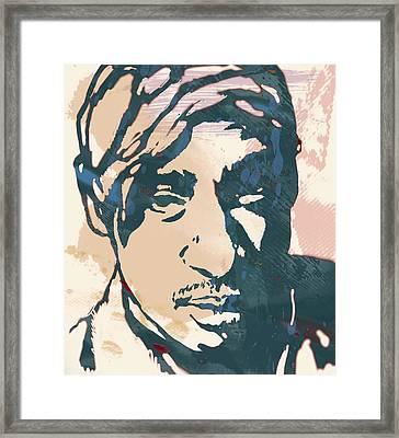 Tupac Shakur Stylised Pop Art Poster Framed Print by Kim Wang