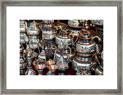 Turkish Teapots For Sale In Istanbul Turkey Framed Print