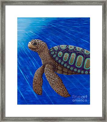 Framed Print featuring the painting Turtle Painting Bomber Triptych 2 by Rebecca Parker