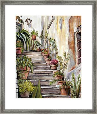 Framed Print featuring the painting Tuscan Steps by Melinda Saminski