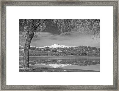 Twin Peaks Longs And Meeker Lake Reflection Bw Framed Print by James BO  Insogna