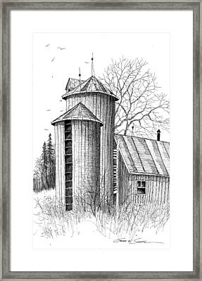 Twin Silos Framed Print by Steven Schultz