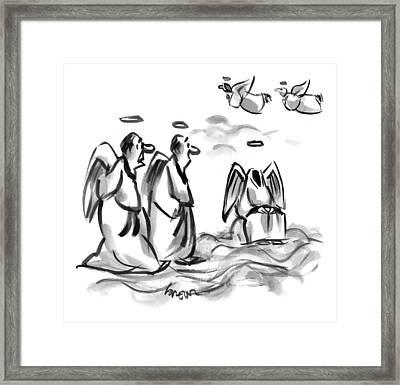 Two Angels Discuss A Third Headless Angel Framed Print