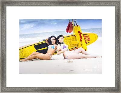Two Beautiful Women Together On Beach Framed Print by Jorgo Photography - Wall Art Gallery