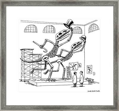 Two Dinosaur Skeletons At A Museum Appear Framed Print by Joe Dator