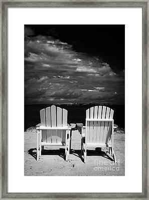 Two Empty Sun Loungers On Private Beach Islamorada Florida Keys Usa Framed Print by Joe Fox