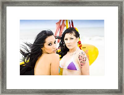 Two Female Surfers Framed Print by Jorgo Photography - Wall Art Gallery